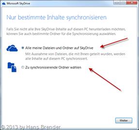 Konfiguration: Einschränkungen der zu synchronisierenden Ordner in SkyDrive