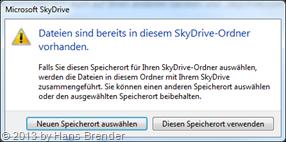 Abschluss bei der Auswahl des Ordners bei SkyDrive