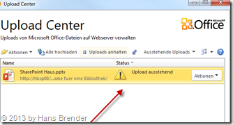 Microsoft Office Upload Center, Synchronisation