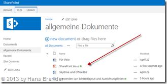 Ansicht im Sharepoint Server 2013