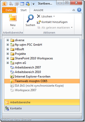 SharePoint Workspace 2010, Startbereich