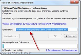 SharePoint Workspace 2010, Eintragen der URL