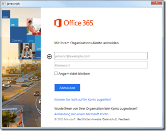 Anmelden beim SharePoint 2013, Anmelden beim Office 365 Tenant
