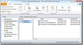 Arbeitsbereich im SharePoint Workspace 2010