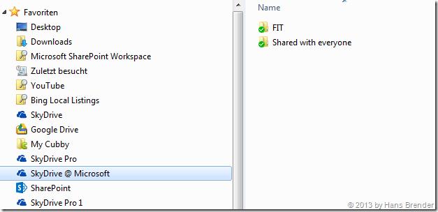 Favoriten, Windows Explorer,SkyDrive Pro