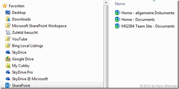 Team-Sites , SkyDrive Proi, Windows ,Explorer Ansicht