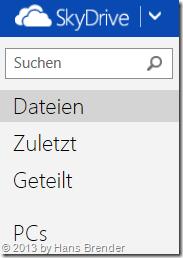SkyDrive im Browser vor dem 13.5.2013