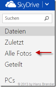 SkyDrive im Browser nach dem 13.5.2013