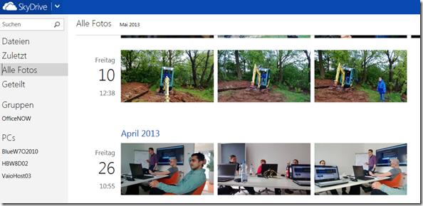 SkyDrive: neue Bilder Darstellung