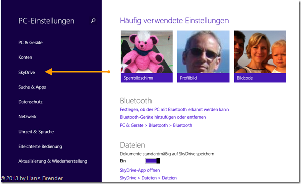 SkyDrive Einstellungen in Windows 8.1