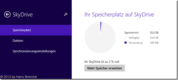 SkyDrive Einstellungen in Windows 8.1, Speicherplatz