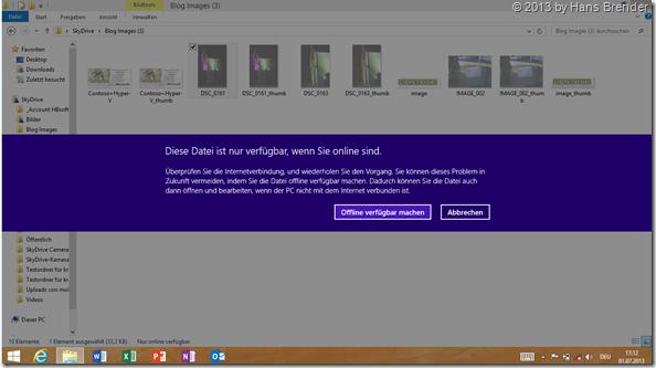 SkyDrive App unter Windows 8.1, Explorer Ansicht, Hinweis