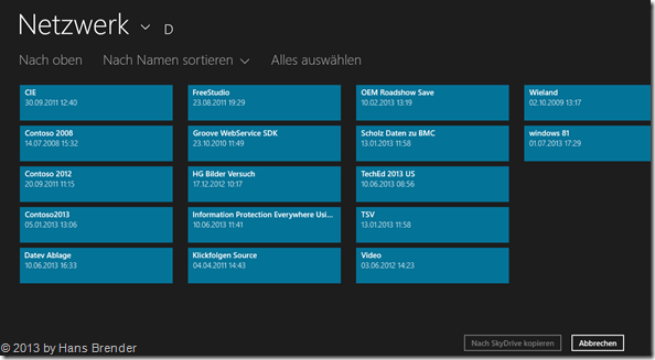SkyDrive App unter Windows 8.1, Daten aus einem Netzwerk auswählen