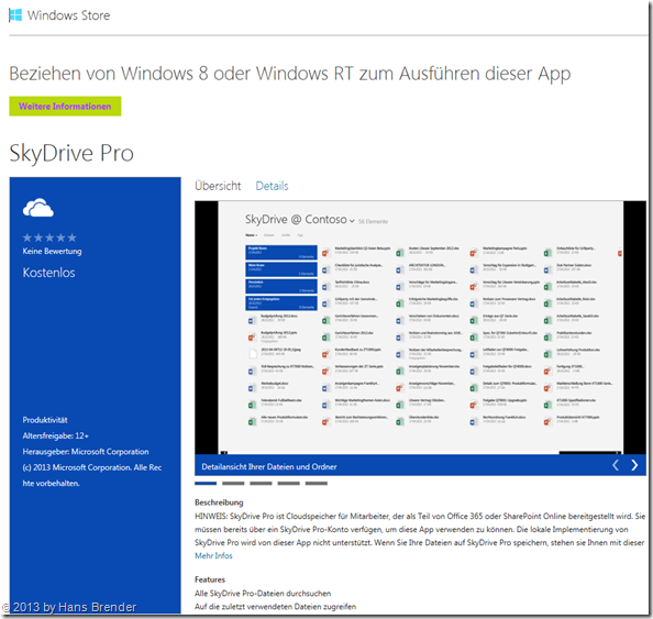 Die SkyDrive App für Windows 8 im Windows Store