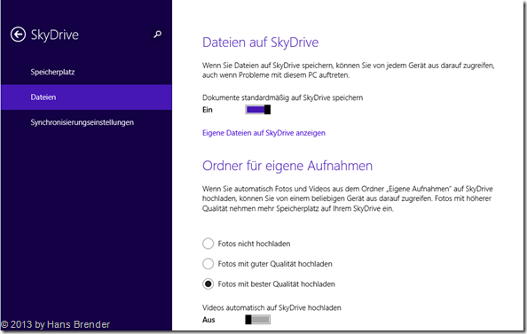 SkyDrive Einstellungen in Windows 8.1, Dokumente speichern