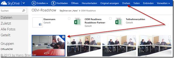 Drehen von Bilder in SkyDrive.com