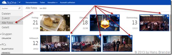 erweiterte Funktion zum Teilen von Bildern in SkyDrive