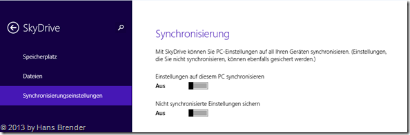 SkyDrive Einstellungen in Windows 8.1, Synchronisierungseinstellungen