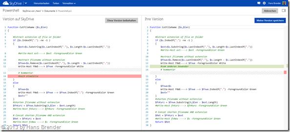 Versionsvergleich im HTML 5 Editor von SkyDrive.com