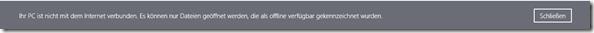 SkyDrive App unter Windows 8.1, Offline Hinweis