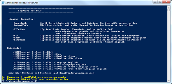 SkyDrive Pro Move, PowerShell script