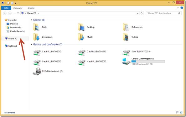 Windows 8.1, Firmen-Rechner vor der Einbindung von SkyDrive