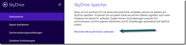 Link zum Verbinden eines Firmen-Rechners  mit SkyDrive unter Windows 8.1