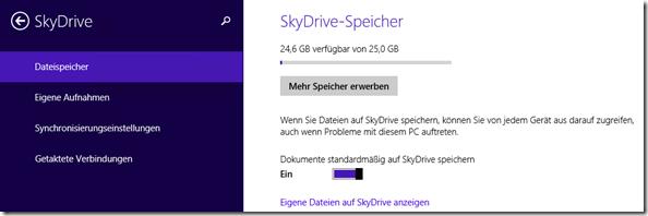 Anzeige des freien Speichers von SkyDrive
