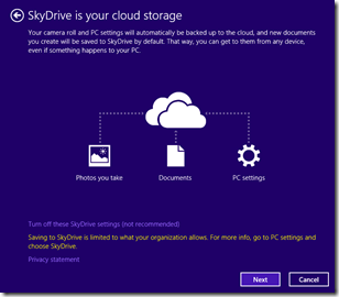 SkyDrive description within Windows 8.1