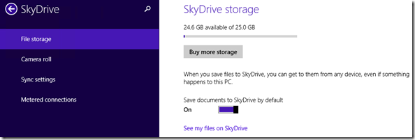 SkyDrive storage