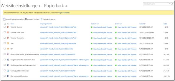 Anzeige SkyDrive Pro Papierkorb