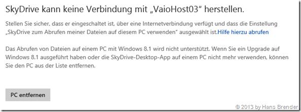 Kein Fernzugriff mehr..., SkyDrive, Windows 8.1