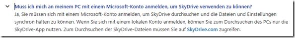 lokale Konten und SkyDrive unter Windows 8.1: Nein