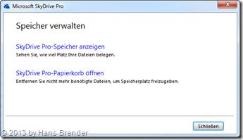 SkyDrive Pro: Speicher anzeigen oder Papierkorb öffnen