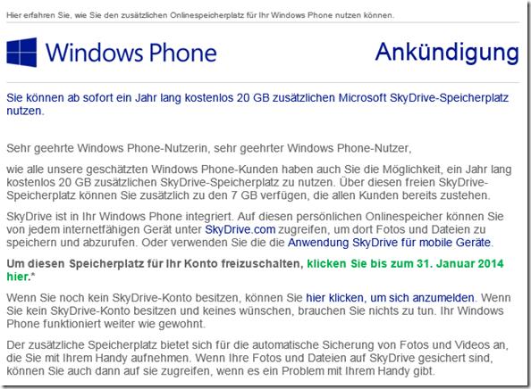 Die Mail an den Windows Phone Benutzer
