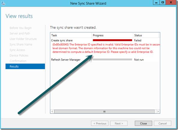 Work Folders, Windows Server 2012 R2, Sync Share Wizzard