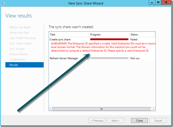 Work Folders, Windows Server 2012 R2, Sync Share Wizzard