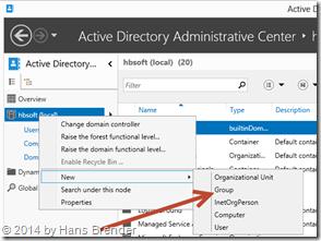 Active Directory Administrative Center: Anlegen einer Sicherheitsgruppe