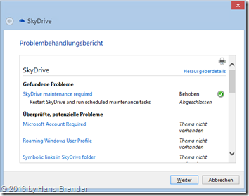 OneDrive, SkyDrive Troubleshooter