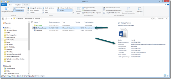 OneDrive (SkyDrive) unter Windows 8.1 im Windows Explorer