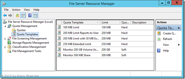 File Server Resource Manager: Quota Templates