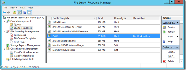 File Server Resource Manager: Quota Templates erzeugen