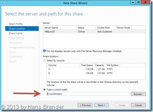 SMB Share erzeugen: Zuweisung des Work Folders Pfad