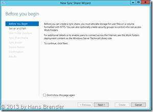 Windows Server 2012 R2, New Sync Share Wizzard
