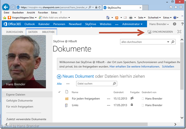 SkyDrive Pro : Erst-Synchronisierung