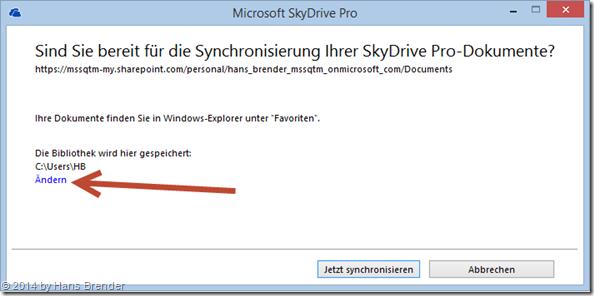 SkyDrive Pro : Dialog-Fenster mit Auswahl des Speicherplatzes