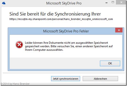 SkyDrive Pro : Fehlermeldung