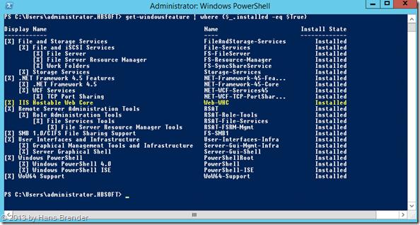 PowerShell Abfrage: welche Komponenten sind installiert?