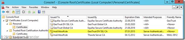 MMC: installierte Zertifikate