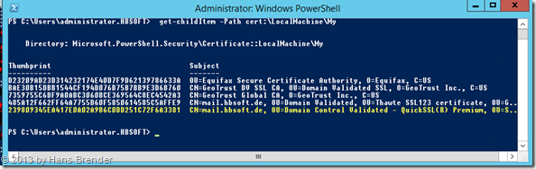 Powersehll Abfrage: Thumbprint der installierte Zertifikate ermitteln